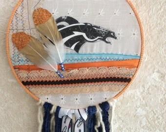 Broncos Hand Stitched Boho Hippie Dream Catcher Wall Hanging