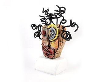 Modern ceramic, Desk decor, Crazy art, Crazy sculpture, Wire art sculpture, Desk art decor, Shelf decor, Clay sculpture, Contemporary art