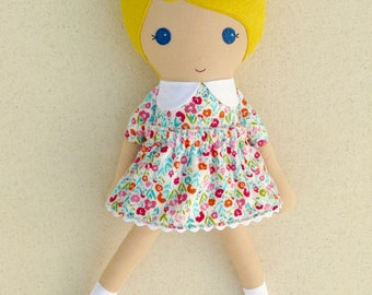 Fabric Doll Rag Doll Blond Blond Haired Girl in Colorful Calico Dress