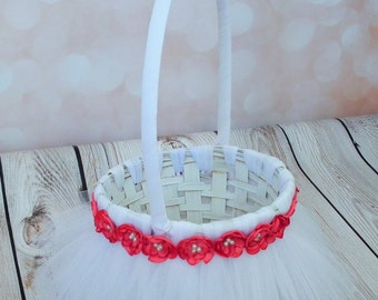 WHITE tutu flower basket with CORAL satin flowers and faux pearls, white wedding basket with tulle - custom colors are available