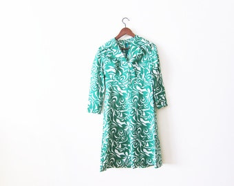 70s dress / vintage green dress / swirl print dress / 1970s dress / retro dress / 70s mini dress / abstract print dress