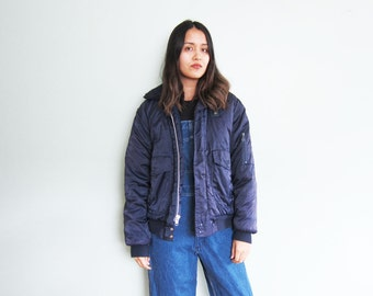 Vintage Bomber Jacket / Nylon Bomber / Flight Jacket / US Navy Zip Up Bomber / Faux Fur Collar / Large