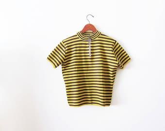 Striped Shirt / Mockneck Shirt / 60s Striped Shirt / Zip Neck Shirt / Mock Neck Top / 1960s Clothing / Yellow Striped Shirt