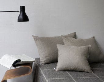 Linen pillow cover - baltic linen, luxury bed linen, undyed linen, linen euro sham, shabby chic bedding, boho bedding, rustic bedding - 0014