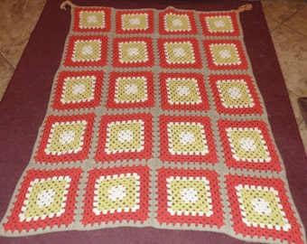 "Vintage Granny Square Crocheted Afghan Throw Orange Fall Colors 72"" x 60"""