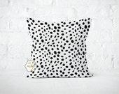 Black Spots Dot Pillow Cover - Togo Black - Lumbar 12 14 16 18 20 22 24 26 Euro - Hidden Zipper Closure
