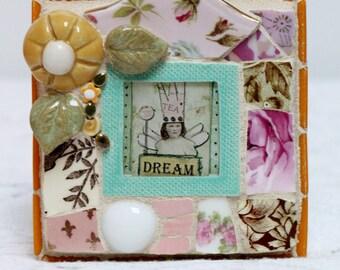 DREAM, mosaic, mosaic art, PIQUE ASSIETE, blue bird, heart