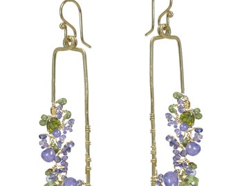 Amethyst, Tanzanite, Blue Topaz hammered drop earrings Bohemian 191