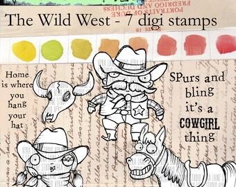 Wild West - 7 digi stamp bundle