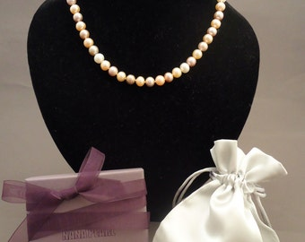 Classic multi color pink freshwater pearl necklace, pearl necklace, pink pearls, wedding pearls, wedding jewelry
