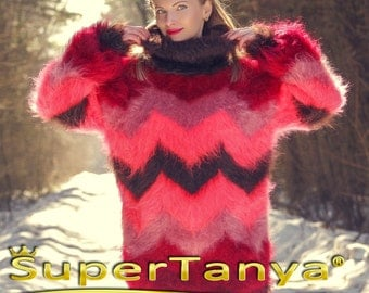 Hand knitted made to measure Nordic mohair sweater in brown and red shades by SuperTanya