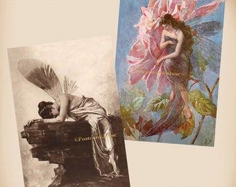 Fairy - Broken Wing - 2 New 4x6 Vintage Postcard Image Photo Prints - FR09-21