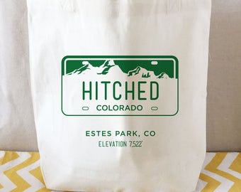 Colorado Wedding Tote bag, mountain destination wedding, bridal party tote bag, wedding tote, bachelorette weekend tote, rockies welcome bag