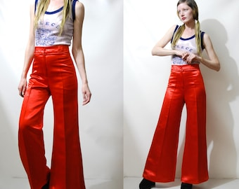 70s Vintage BELL BOTTOMS Disco Pants Shiny Red Liquid Satin High-waisted Wide Leg Flare Trousers Retro Glam Rock Hippie 1970s vtg XS