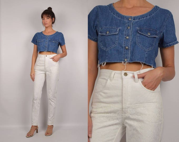 Denim Cut Off Crop Top vintage