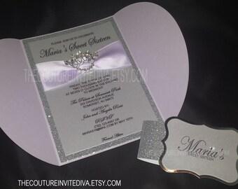 Sweet Sixteen Invitation | Princess Crown Invitation | Rhinestone Crown Invitation | Glitter Invitation | Lavender Invitation | Lilac Invite