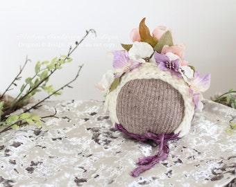 Newborn Flower Bonnet Hat Girls Baby Hat Newborn Hat Newborn Baby Photo Prop Crochet Hat Newborn Baby Floral Photography prop. UK Seller