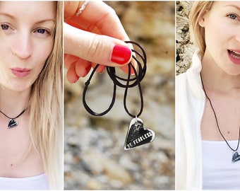 Custom Engraved Heart Pendant Necklace - Personalised Words Jewelry