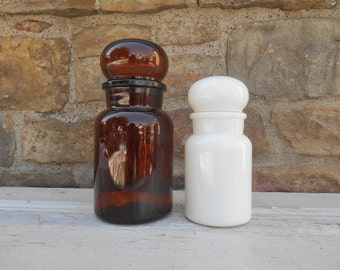 One Vintage Glass Apothecary Bottle Cannister with Bubble Shaped Stopper Lid Made in Belgium: Amber Brown or White Milk Glass Jar