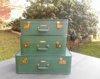 One Large Green Suitcase Vintage Travel Decor J. C. Higgins Luggage Case with Hangers Wedding Card Holder Wishing Well Middle Suitcase