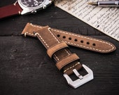 Brown crazy horse  genuine leather watch strap (22mm) + watch pins & tubes, watch strap, watch band, wrist band