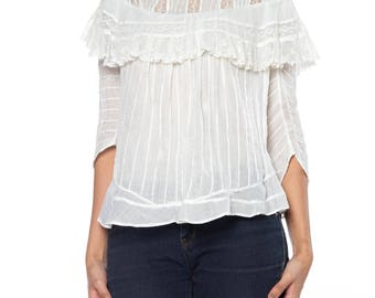 Victorian White Top With Lace On Yoke Size: 2-4