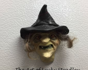 WITCH/GOBLIN MAGNETS - Hand sculpted magnets to hold important things on your refrigerator. MA1
