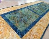 Quilted Batik Table Runner Navy Landscape Quilt 441