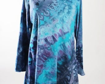 Ice Dyed Asymmetric Tunic, Long Sleeve, Cotton,   Tie Dyed, Blue, Turquoise, Purple,  Made To Order