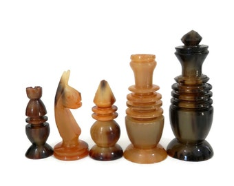 Hand Carved Black and Brown Horn Chess Set 1970's Era Vintage Classic Board Games