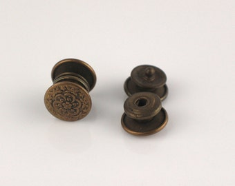 Round Flower Pattern Gold Tone Metal Press Shirt Cuff Links Cufflink Studs Popper