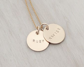 "Personalized Gold Name Necklace - Gold 5/8"" Disc Necklace - Gold Name Charm Necklace - Hand Stamped Mother's Necklace"