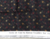 DESTASH of Seeds of Time Fabric by Kansas Troubles Black Background with Tiny Floral Print Measures Approx. 45 By 19 Inches