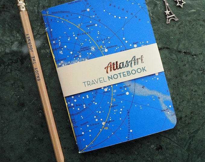 NOTEBOOK SMALL, starry night, nothern hemisphere, zodiac, astronomie, 4x5,8 inch, 32pages, journal, diary, atlas, map, vintage, upcycling
