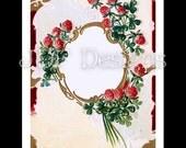 Instant Digital Download, Vintage Antique Graphic, Ornate Clover Frame, Text Box, Shamrocks, Scrapbook Image, Label, St Patricks Day