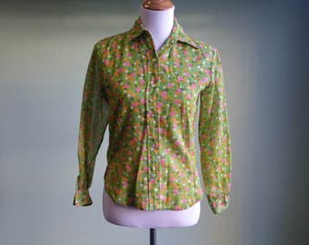 1960s Flower Power Blouse - 60s Floral Print Long Sleeve Top - XS / Sm - Hippie Shirt