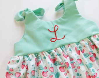 Strawberry Dress, Girls summer dress, fruit dress, mint and red, baby dress, coming home outfit, sweet, fruity, strawberry picking outfit