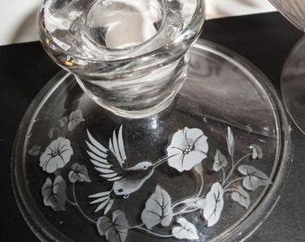 Avon Candleholder - Lead Crystal - Hummingbird - Collectibles - Morning Glories - Home Decor - Birds - Flowers
