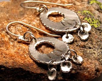 Boho Earrings, Silver Disk Hoop Earrings, Sterling Oval Hoops