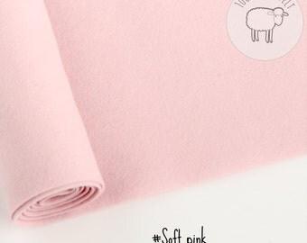 "Light pink wool felt, Pure wool felt, pink felt - 100% wool felt band 20cm by 91cm (9"" x 36""), 1 - 1,5mm - Ships from Ireland"