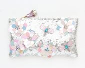 Small silver couture shoulder purse-sequin bag-pastel leather flowers-pearl and crystal embroidered evening bag-Ready to Ship /DREAM 6