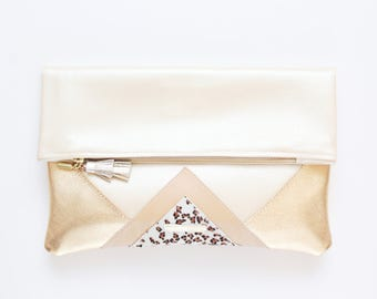 CARRIER 185 / Large clutch bag-leather purse-oversized metallic bag-gold nude leather purse-geometric statement clutch-Ready to Ship