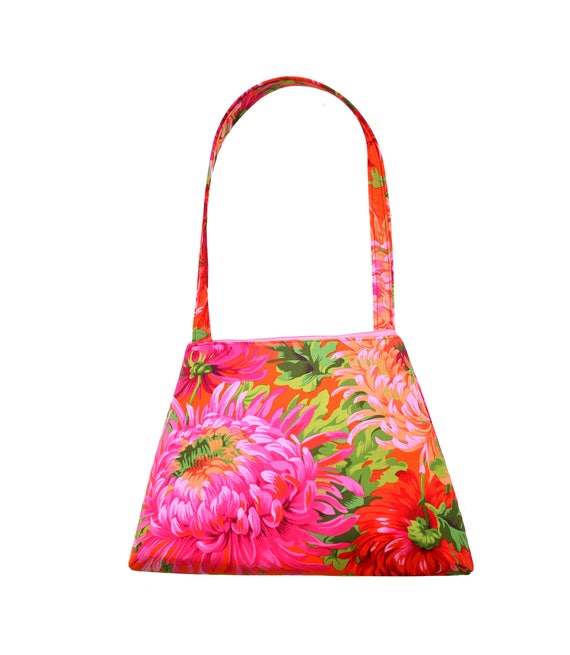 Pink, green, large floral, spring, summer, retro style, tall Retro