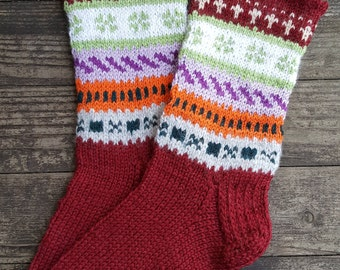 Hand Knit Wool Socks -Colorful for Women - Size Medium-US W8 ,EU39