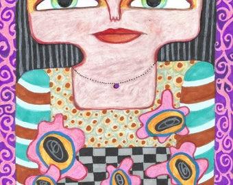 Funny Woman Art, Whimsical Girl Print, Girl's Room Decor, Humorous Art, Girl Art Portrait, Purple Decor, Pink Posies by Paula DiLeo_316