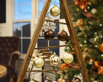 SALE Rustic Stained A-frame Christmas Tree Ornament Display/ Ornament Hanger