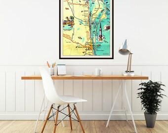 Cocoa Beach map art print, CAPE CANAVERAL Florida, NASA rocket,  Map Art, Map Decor, vintage beach Canova Beach vintage vacation Boy's room