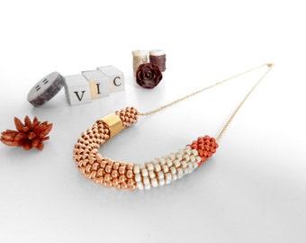 Crochet Rope Necklace // Christmas Gift // Tube Necklace // Minimalist Necklace //  Beaded Necklace // Everyday Jewel //