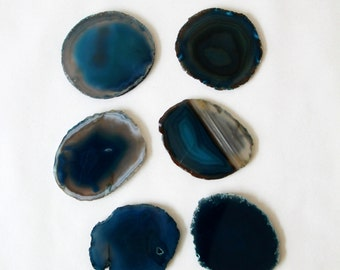 Agate Slice Coasters - Set of Six Blue Agate Slice Coasters - Velvet Lined - Great Gift