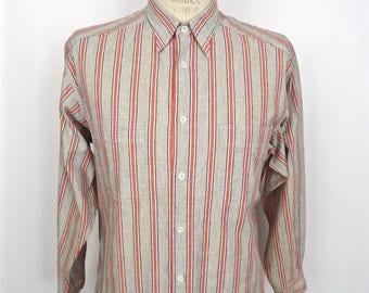 1980s Stripe Shirt / vintage Claiborne gray red & white striped button-down / men's large